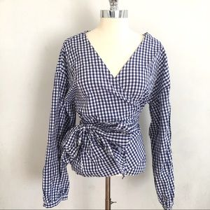 Gingham Blue Checkered Wrap Shirt